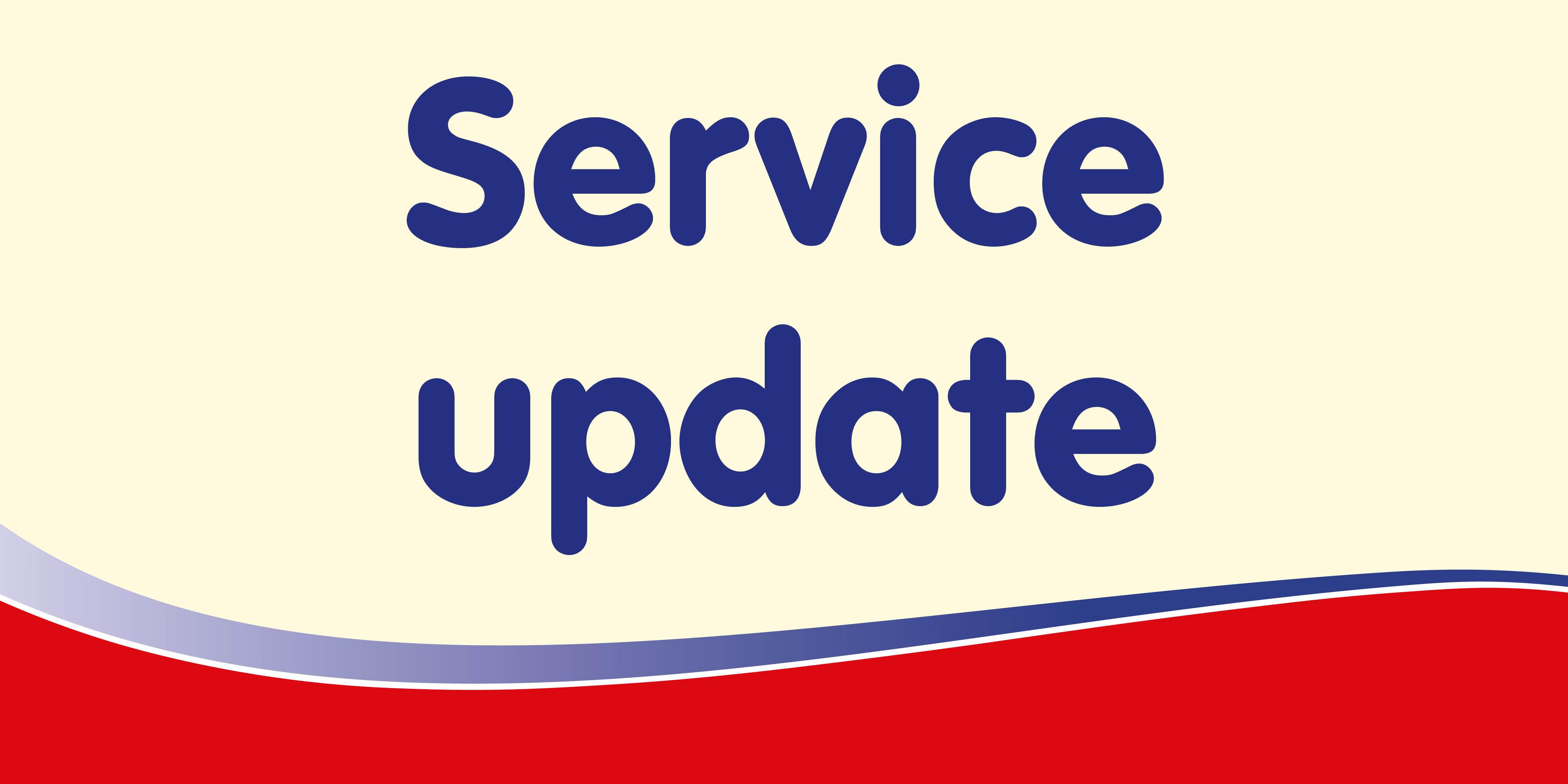 cream graphic reading service update