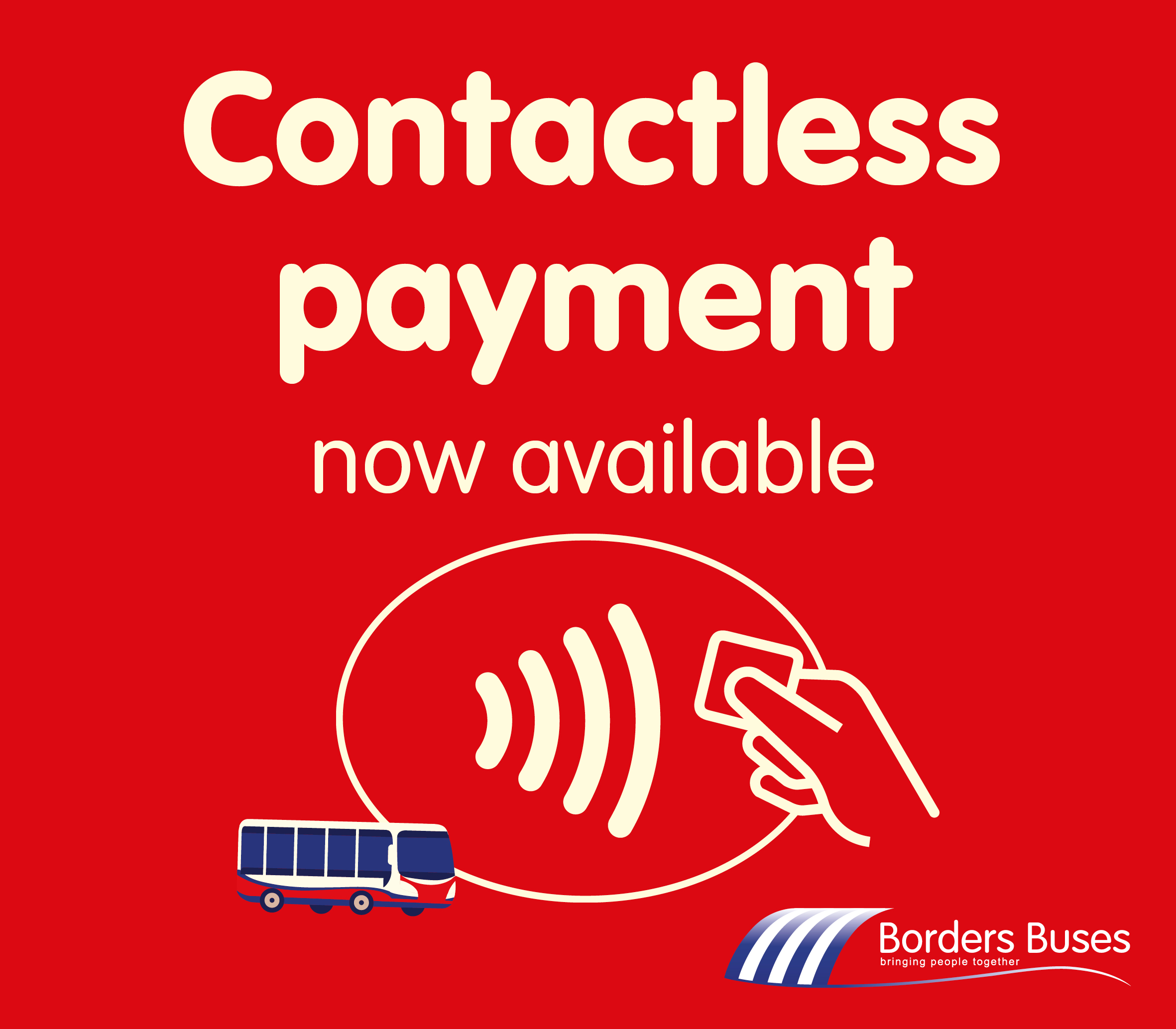Contactless symbol (hand holding card with wireless curved lines coming out) next to icon of small red bus