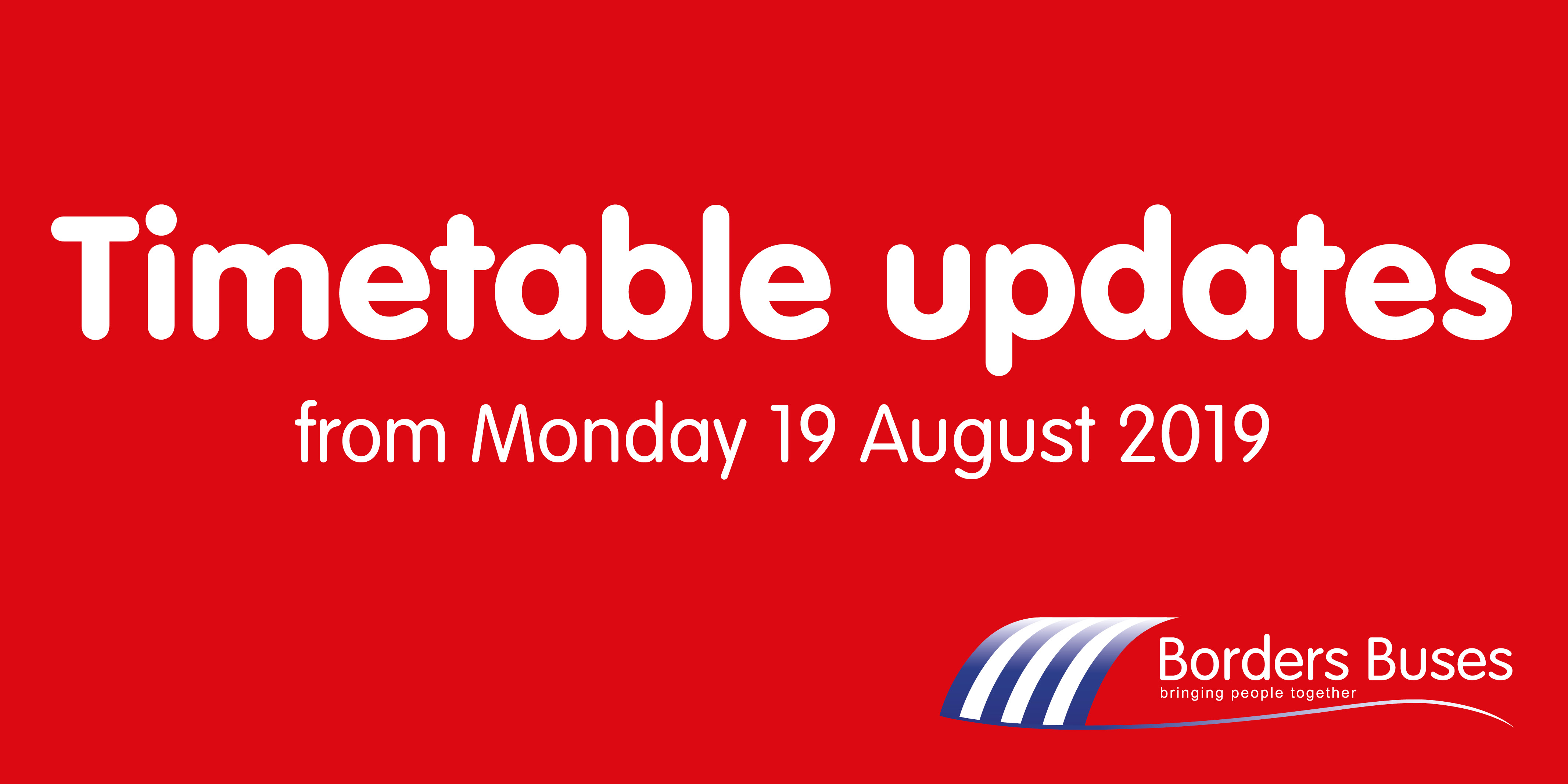 Red graphic with borders buses logo reading 'timetable updates'