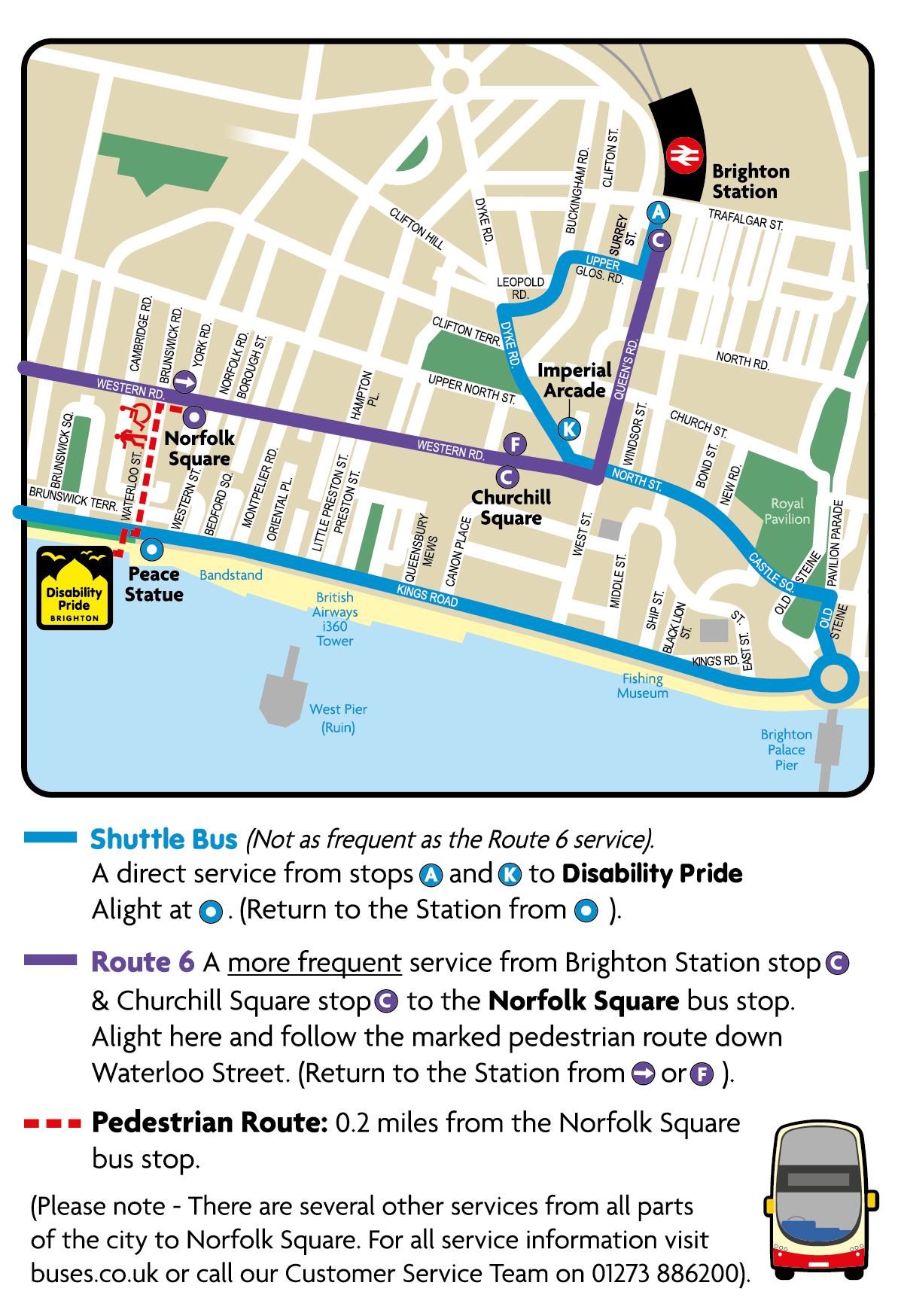 Map showing shuttle service, 6 service, pedestrian route and Norfolk Square for all services operating via Western Road.
