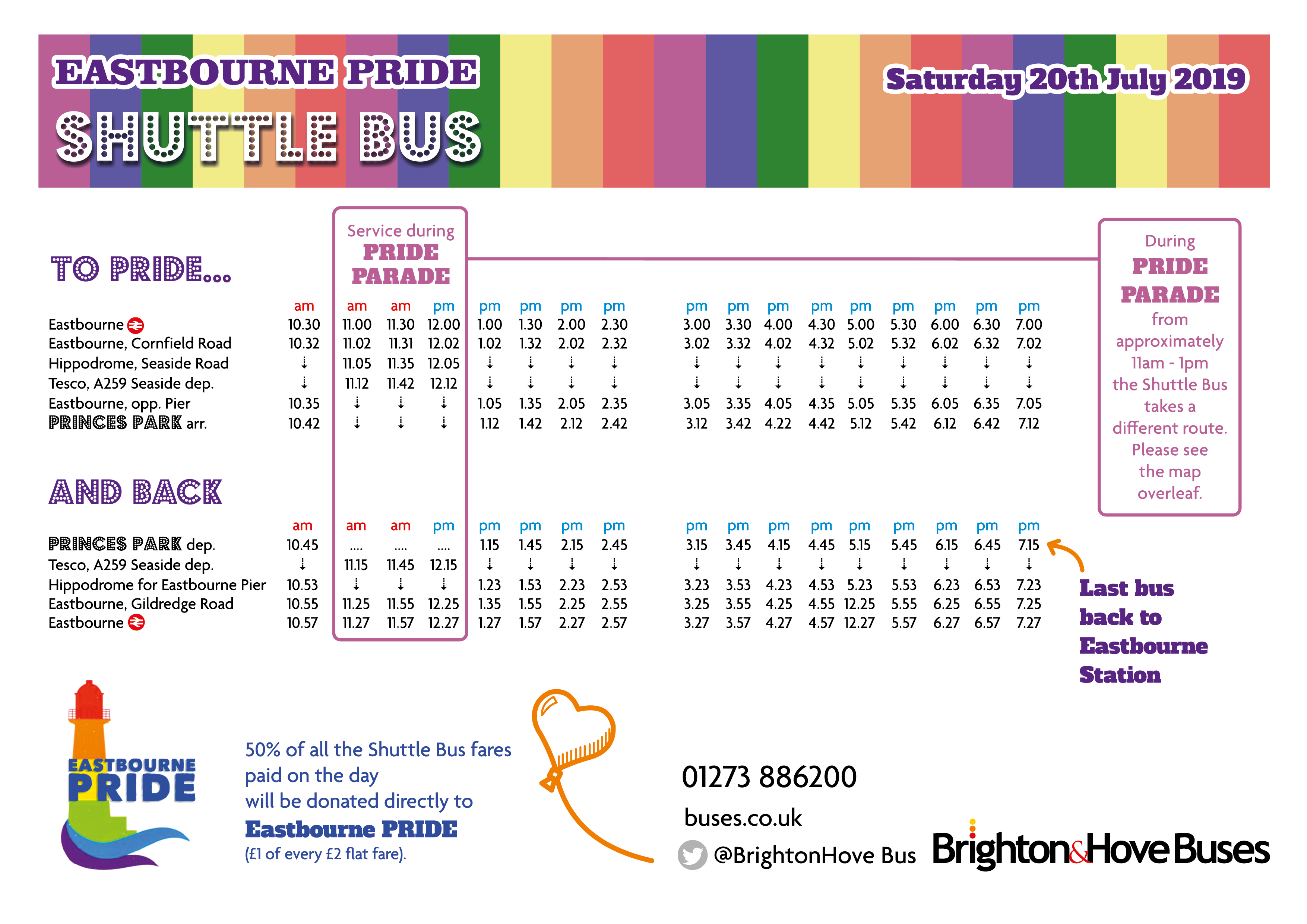 Timetable for Eastbourne Pride Shuttle