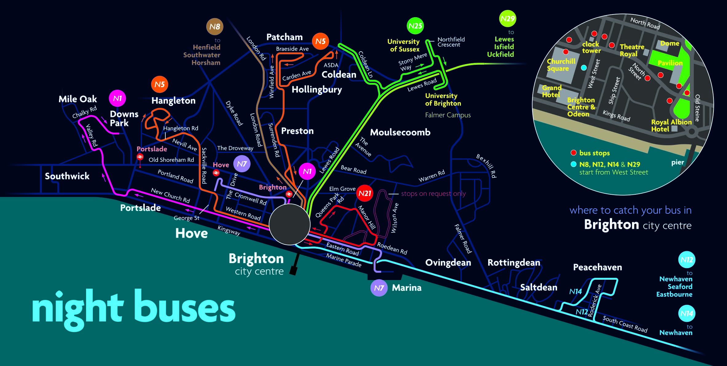 Night bus route map