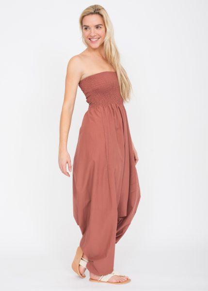 2 in 1 Cotton Maxi Harem Trouser Jumpsuit Rose Pink