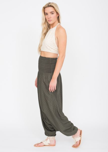2 in 1 Harem Trousers and Bandeau Jumpsuit Khaki Paisley Print