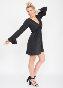 Black Bell Sleeve Wrap Front Dress