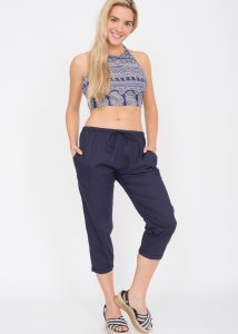 Cotton Poplin Cropped Harem Pants