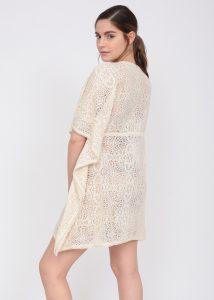 Crochet Lace Ecru Cotton Kaftan