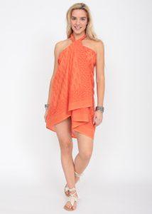 Feathers Block Print Orange Cotton Sarong