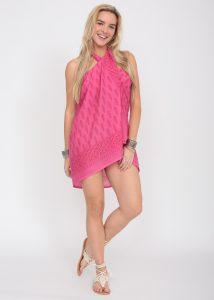 Feathers Block Print Pink Cotton Sarong