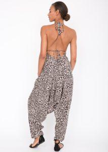 Halter Harem Jumpsuit Leopard Print