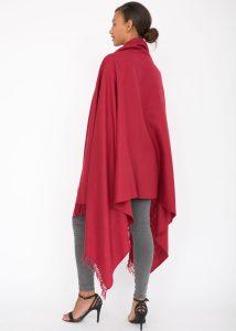 Kasa Merino Wool Pashmina & Oversize Scarf 100 X 200cm Red