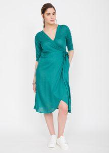 Midi Wrap Dress with 3/4 Sleeves Polka Print