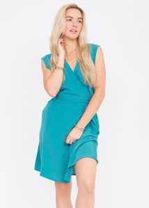 Open Back Lara Wrap Dress Aqua