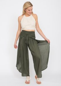 Open Wrap Trousers Khaki