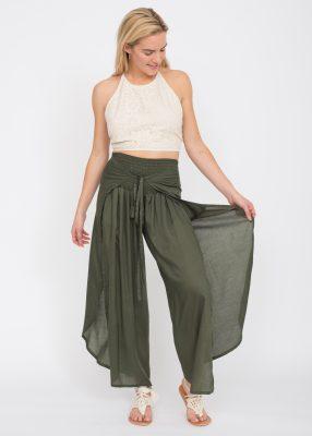 Open Wrap Trousers Khaki