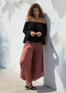 Relaxed Wrap Side Split Trousers Rose Pink