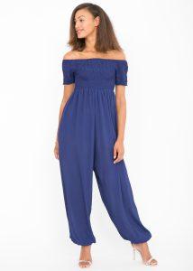 Silk Look Off Shoulder Harem Jumpsuit Cobalt Blue
