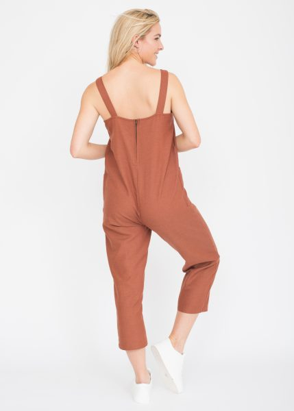 Sunset Copper Cropped Romper Jumpsuit