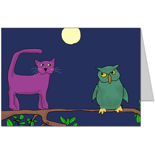 The owl didn't want to go in a boat no matter what colour it was Card