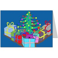 Purple Cat under the Christmas Tree Card