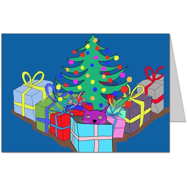 Purple Cat under the Christmas Tree Card