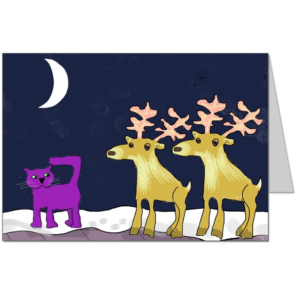Purple Cat met some reindeers on the roof! Card