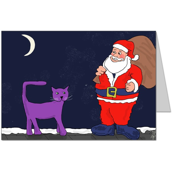 Purple Cat didn't know what this funny man was doing on the roof... Card