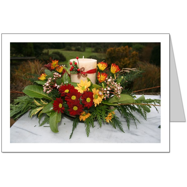 Christmas candle & flower arrangement Card