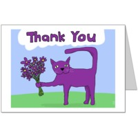 Purple Cat says Thank You Card