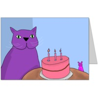 Purple Cat is celebrating Magenta Mouse's birthday Card