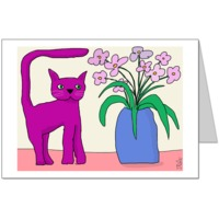 Purple Cat Flowers Card