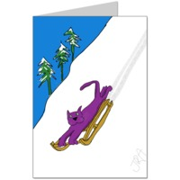 Purple Cat is regretting trying out the sledge Card