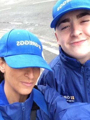 Promoting greggs · By: Greggs staff