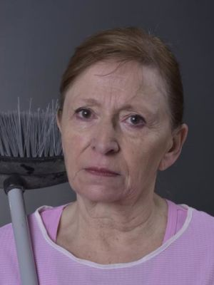 Cleaning lady close up