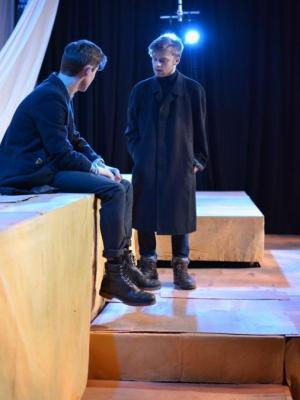 Rosencrantz and Guildenstern discuss their predicament, Rosencrantz and Guildenstern Are Dead at the O'Reilly Theatre 2016 · By: Hester Vickery Styles