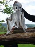 Barred owl puppet. Designer and maker. Owl can flap wings and fold them to land. Once landed the head can be puppeteered independently from the body. · By: Meg George