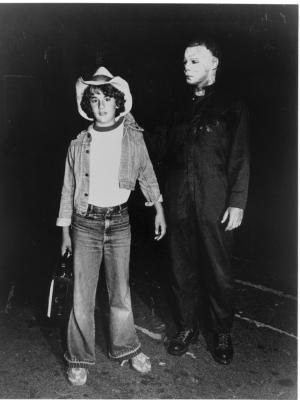 "1981 Lance Warlock as ""Boom Box Boy"" and father Dick as ""Michael Myers"" in Halloween II · By: Kim Gottlieb"