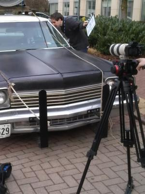 "A corporate shoot with ""The Blues Brothers"" - recording dialogue inside the car"