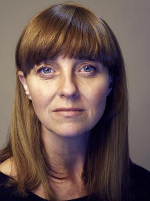 Kate Ashcroft dark fringe, long hair