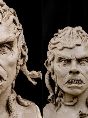 Medusa sculpt before moulding and making into a prosthetic/mask