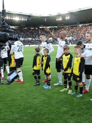 Filming on the pitch at Derby County FC