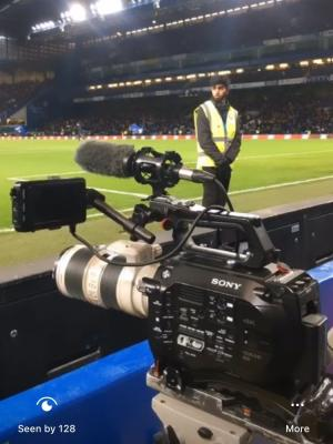 Filming pitchside at Chelsea FC