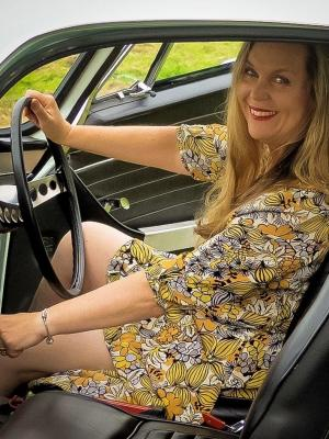 Vintage dress and car