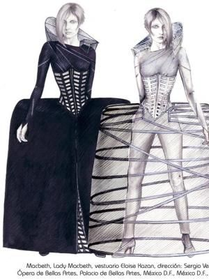 costume design for Lady Macbeth by Eloise Kazan, Macbeth by Giuseppe Verdi, Director: Sergio Vela, Ópera de Bellas Artes, Mexico City