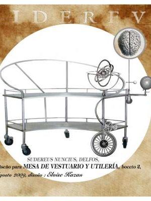 sketch of prop table designed for Sidereus Nuncius, Delfos Dance Company, music: Javier Torres Maldonado, set and costume design: Eloise Kazan