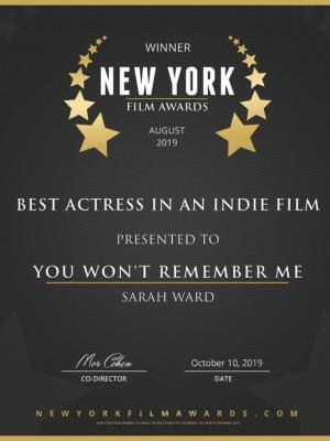 Best Actress in an Indie Feature Film - New York Film Awards 2019