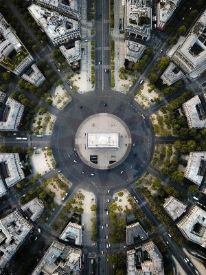 2019 Looking directly down on the Arc De Triomphe, Paris (shot by drone) · By: Ethan Parker