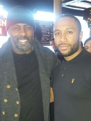 2018 Myself and Idris at wrap party after working with him · By: Sofian Francis