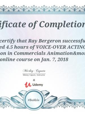 2018 Voiceover 101 Certificate of Completion