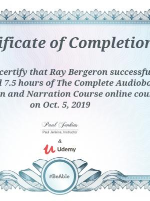 2019 Complete Audiobook Production and Narration Certificate of Completion